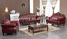 Italy Genuine leather wooden sofa set design