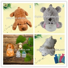 Many styles fuzzy soft plush dog lion donkey animal toy cover for hot water bottle