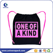 Pink drawstring canvas backpack shoulder bag with matchable printing