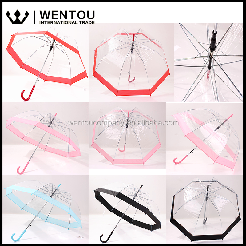 WENTOU Monogrammed Folding Clear Bubble Dome Umbrella