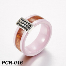 Latest Design CZ Ring Ceramic Models Ring for Women Pink Ceramic Ring with Wood Inlay