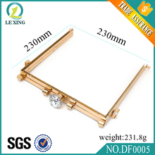 Professional Customized Hot Sale Plating Handbag Accessories Gold Metal Square Purse Handbag Frames