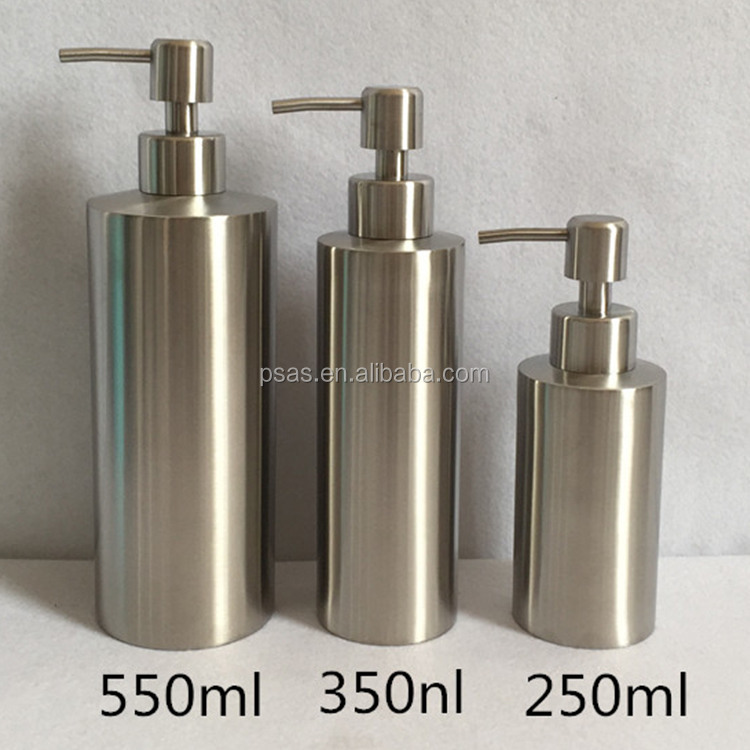 Polish metal hand washing lotion container stainless steel hand sanitizer bottle with pump dispenser
