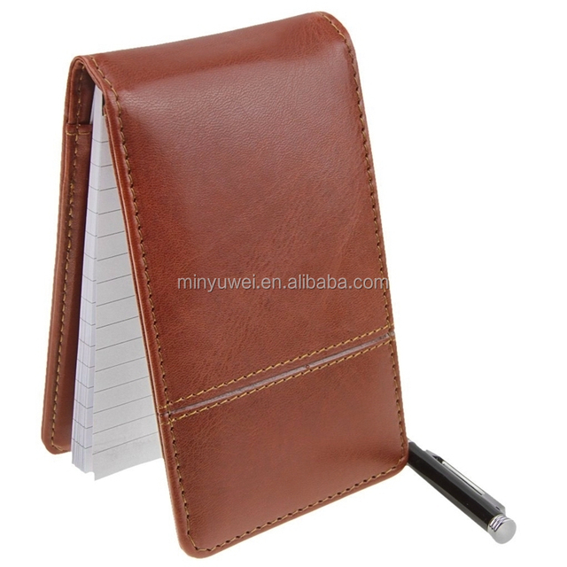 Small PU leather Memo pads with calculator brown office stationary writing pads office gifts item hot selling