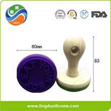 BPA free, custom embossed silicone rubber cookies stamp with wooden handle