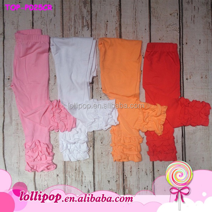 Solid Color Girls Icing Cotton Pants Icing Three Ruffle Leggings ...
