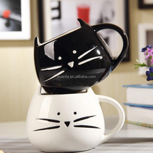 Can pass FDA test Fashion modelling the cat ceramic coffee mug wholesales with gift box