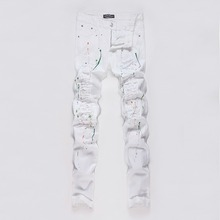 Z93172A 2017 New Fashion European White Printed Men's Damaged Denim Jeans