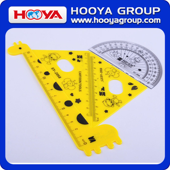 ST33331 Hot Selling Perfect Gift to Student Fancy 4pc Plastic Geometric Ruler Set