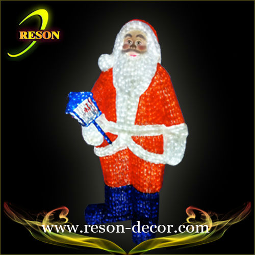 RS-santa04 hot sale christmas outdoor led plastic santa clause