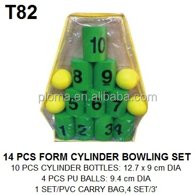 Kids toys 14pc form cylinder bowling set