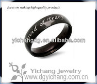 Personalized 6mm Stainless Steel Black Shiny Ring - Free Engraving