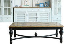 American vintage style painted wood carved center coffee table