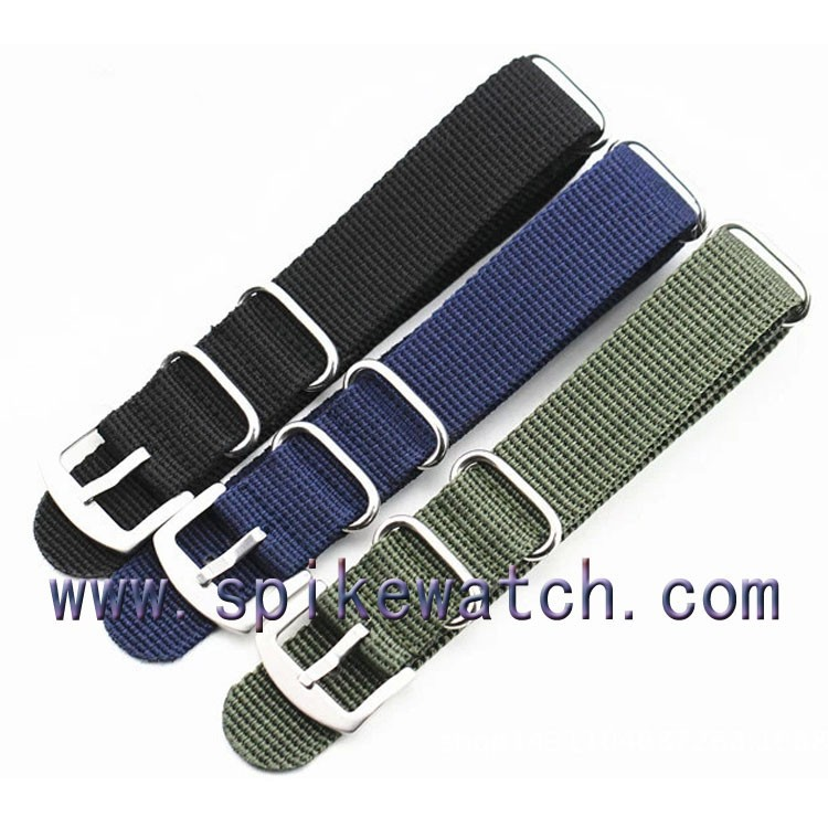 Changeable nylon strap stripe black/green/green nato ribbon watch band