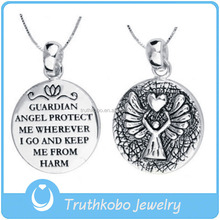 JP0198 Antique silver jewelry with Guardian Angel 316L stainless steel blessed pendant,keeping us from harm