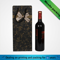luxury craft paper wine gift bag packaging with bowknot and handle