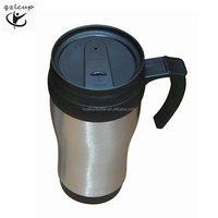 Double wall plastic inner and stainless steel outer coffee mug wholesale,stainless steel coffee mug with lid and handle