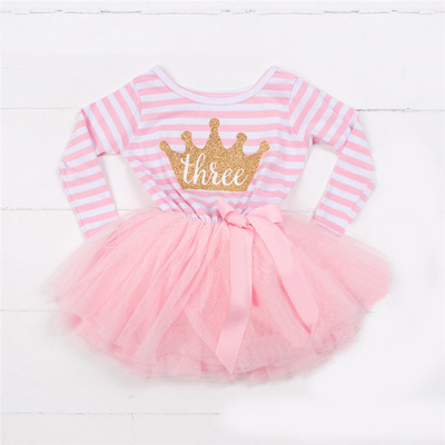 Pabasana crown and letter design girls tutu dance 1st birthday dress for 1-3 years with quality warranty