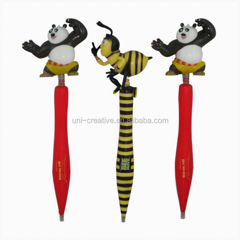 Custom cartoon character head ball pen bouncing head ball pen promotion pen