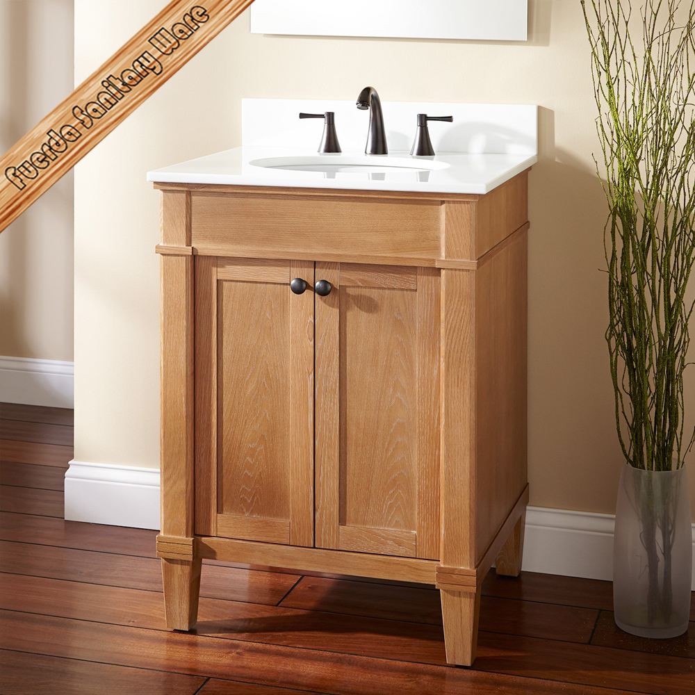 small sizes floor mounted oak finishing solid wood bath cabinet