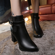 Autumn and winter latest women's leather boots Pointed Martin boots thick heel Side zipper high heel plush warm ladies boots