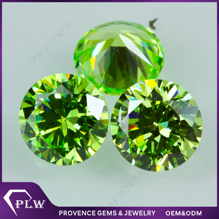 AAA grade apple green round diamond cut synthetic cubic zirconia loose gems