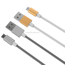 V8 port data cable in mobile phone cables aluminum housing braided wire rose gold gun data cables