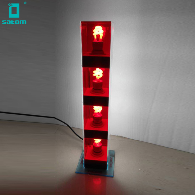 Table Led Light Window Display Translucent Red Acrylic Light Bulb Display