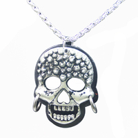 Gothic Halloween Zinc Alloy Chain Plastic Biker Skull Pendant Necklace for Men