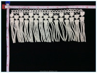 2015 JND High Quality White Cotton Fringe Lace Trim with Tassel