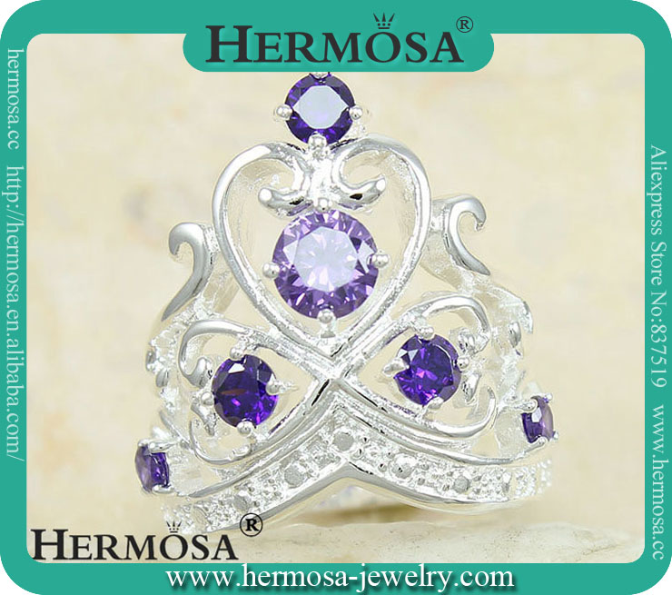 925 Sterling Silver Queen Crown Purple Amethyst Women Engagement Ring Y3923