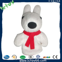 Best selling gift black and white plush dog animal toy hand puppet for festival sale