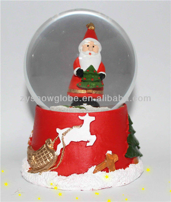 Electric christmas resin santa snow globe