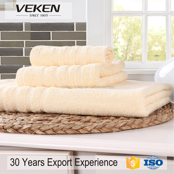 veken products quick response 24*7 service high quality bamboo fiber yellow towel set