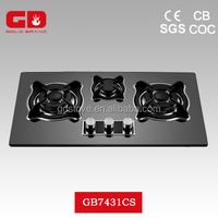 Hot style black color 3 burner gas stove glass top/ housing cooktop panels for kitchen appliances