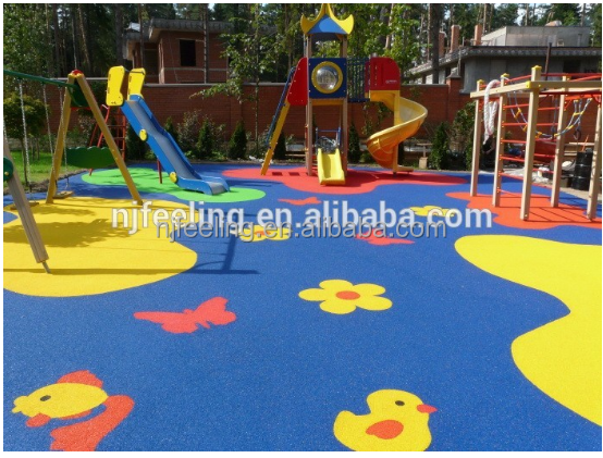 Granulated rubber floors/playground safety floor/pu binder mixing epdm granules-g-y-160930-3