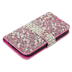 Bling pearl Diamond PU Leather Flip Wallet Stand Cover Case for LG k3 LS450