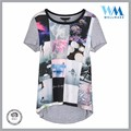 qulified contrast fabric curved hem causal polyester colorful tee shirt