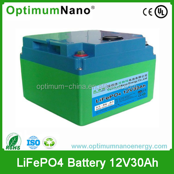 Over 2000 times cycle life 12V 30Ah Lithium Ion battery for golf trollery/solar