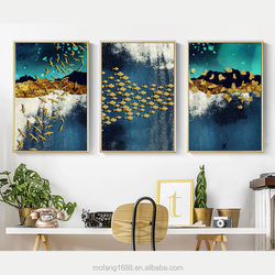 New Chinese Landscape Abstract Golden Bird Fish Butterflies Oil Painting Home Wall Decor for Sale