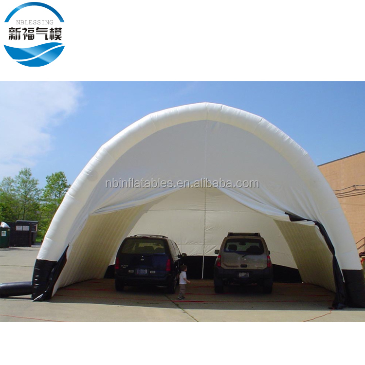 Garage shape giant outdoor advertising inflatable car roof tent with zipper