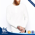 Guangzhou Shandao whoesaler latest design plain mens long sleeve v-neck fitness 180g 100%cotton t shirt