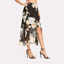 Accept sample making cotton wrap skirt floral ,midi print floral skirt