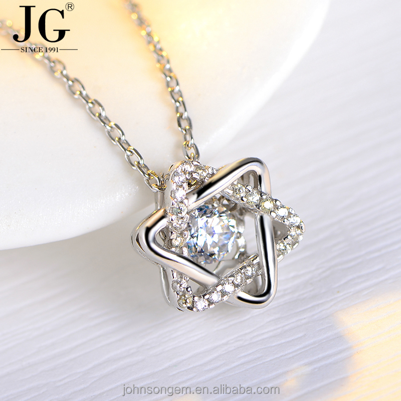 Wholesale Flashing Necklace, 925 Sterling Silver Star of David Zircon Pendant Dancing Stone Beats Jewelry Necklace