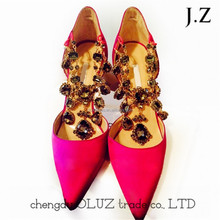OP28 girls' pink pointy toe crystal chain diamonds gems heel dress shoes