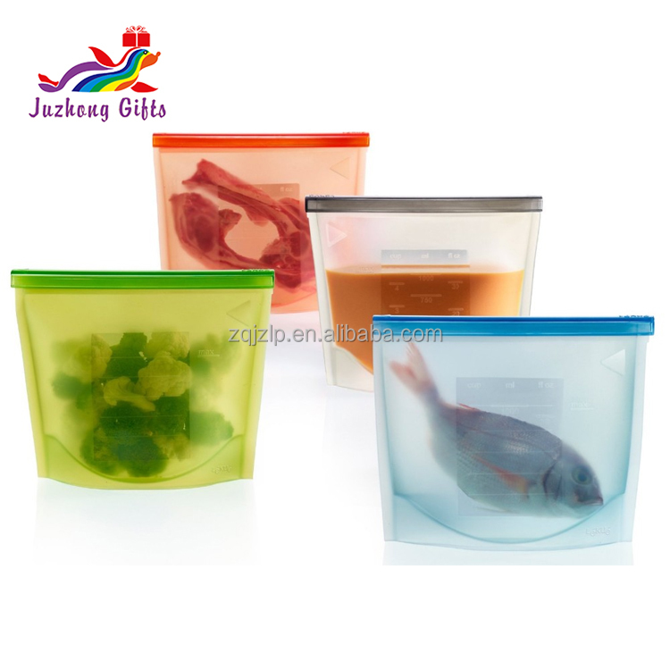 2017 NEW Food packaing reusable vacuum freezer fresh silicone food bag with zip lock