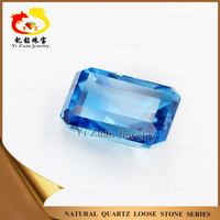 Octagon step cut natural blue quartz sky blue topaz flat stones for crafts