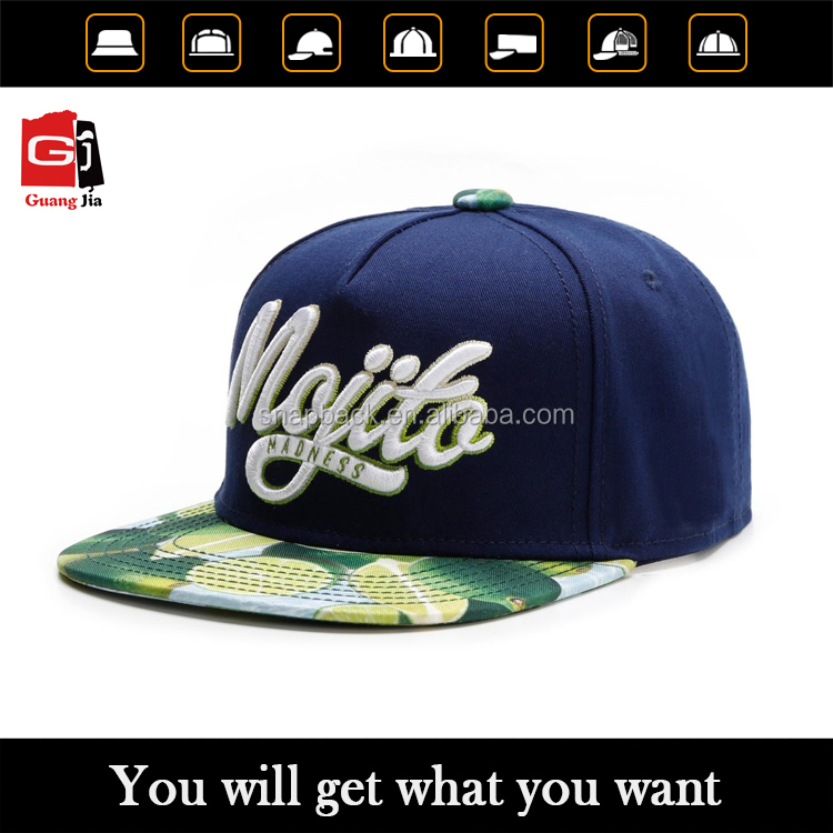 China Cap Factory Custom Fashion 3D Puff Embroidery Printing Flat Peak Cap 5 Panel Snapback Hat