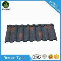 New design Roman color stone chip coated metal roof tiles,roof shingles with low price
