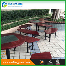 modern leisure plastic wooden long bench chair with stone legs for park